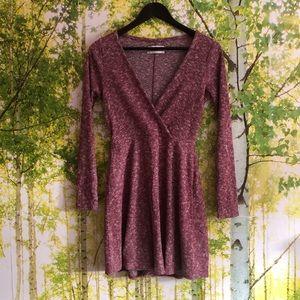 Sweater dress faux wrap